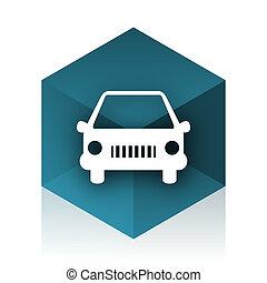 car blue cube icon, modern design web element