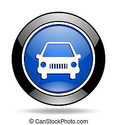 car blue glossy icon