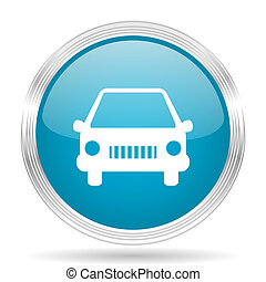 car blue glossy metallic circle modern web icon on white background