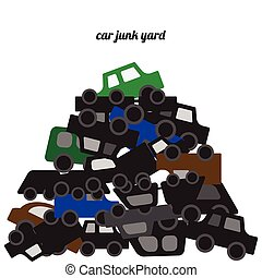 Car bodies stacked at the junkyard vector illustration