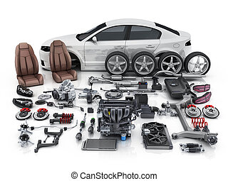 Car body disassembled and many vehicles parts. 3d ...