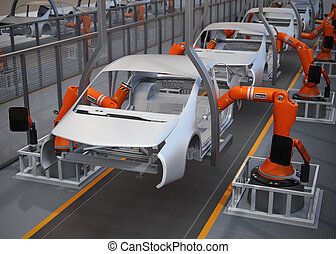 Car body frame assembly line