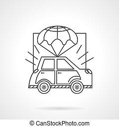 Car body insurance line vector icon