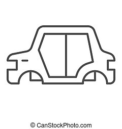 Car body thin line icon. Car frame vector illustration isolated on white. Car part outline style design, designed for web and app. Eps 10.