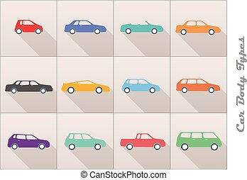 car body types - vector stylized different types of car body...