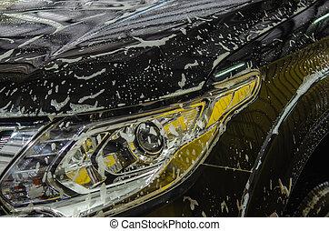car, bolhas, lavagem