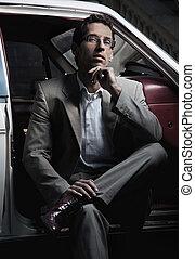 car, bonito, assento homem