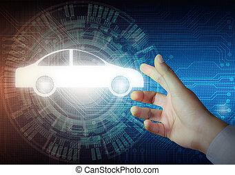 car, botão, modernos, fundos, mão, tocar, homem negócios, tecnologia, abstratos, ícone