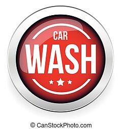 car, botão, vetorial, lavagem, ícone