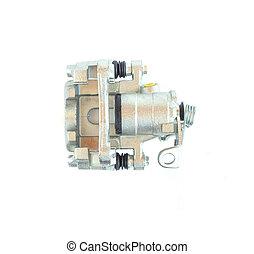 Car brake caliper on white background, isolate
