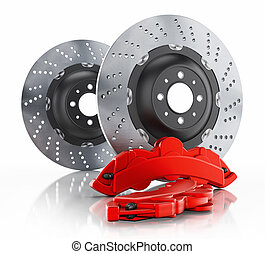 Car brake disc and red caliper isolated on white background. 3D illustration