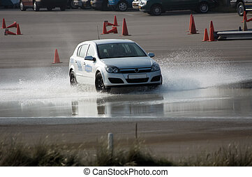 brake training - car brake training in wet conditions