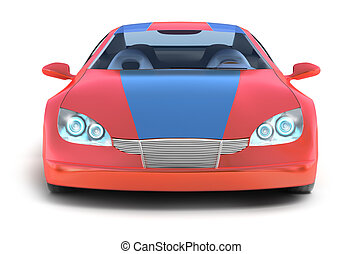 car, branca, desporto, vermelho, superfície