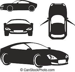 car, branca, vetorial, silueta, isolado
