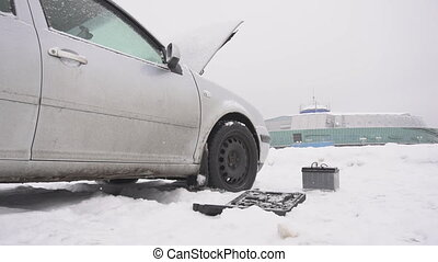 Car breakdown in winter, low-quality diesel fuel freezing...