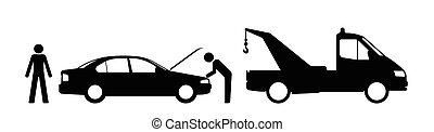 Car breakdown - Silhouette broken down car and breakdown...