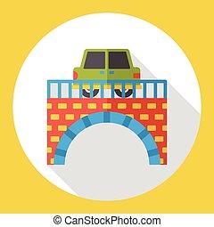 car bridge flat icon