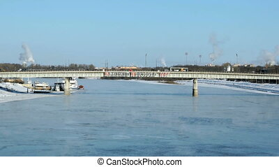 Car bridge in Velikiy Novgorod, Russia in winter