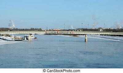Car bridge in Velikiy Novgorod, Russia in winter