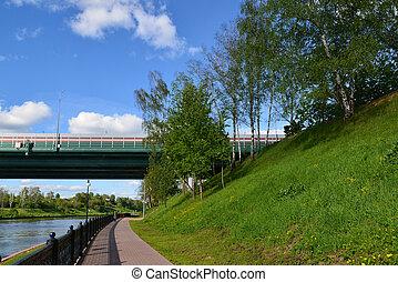 Car bridge of highway M11 in Khimki, Russia - Car bridge of ...