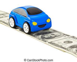 car, brinquedo, estrada, dinheiro