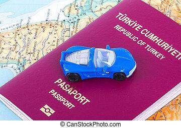 car, brinquedo, passaporte