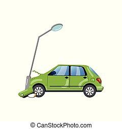Car bumped at the lamp post, car insurance cartoon vector Illustration
