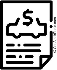 Car Buy Document Icon Vector Outline Illustration