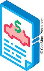 Car Buy Document isometric icon vector illustration