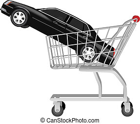 car buying - a black auto in shopping cart