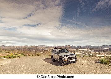 Car by roadside in wildernes.