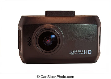 Car camera video recorder isolated on white background.