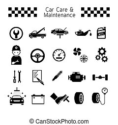 Car Care and Maintenance Objects icons Set - Black and...