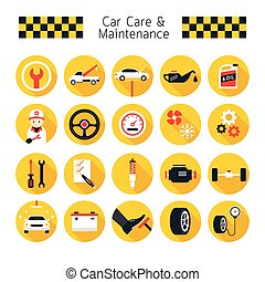 Car Care and Maintenance Objects icons Set - Flat Design,...