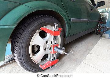 car-care, naprawa, zielony, środek, wóz