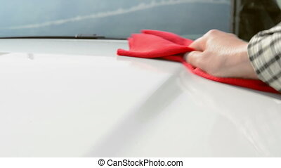 Car Care - Polishing a white car