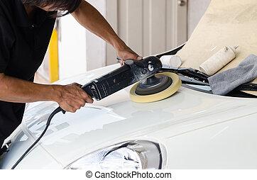 Car care with polishing machine