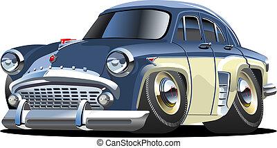 car, caricatura, retro