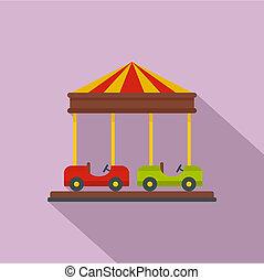 Car carousel icon, flat style