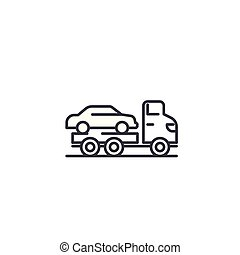 Car carrier linear icon concept. Car carrier line vector sign, symbol, illustration.