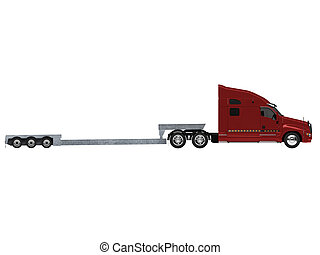 Car carrier truck back view - isolated car carrier truck...