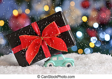 Car Carrying A Christmas Gift