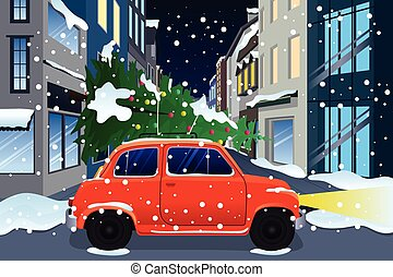 Car Carrying Christmas Tree