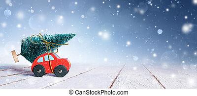 Car Carrying Christmas Tree With Snowfall