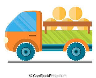 Car Carrying Hay in a Trailer Vector Illustration