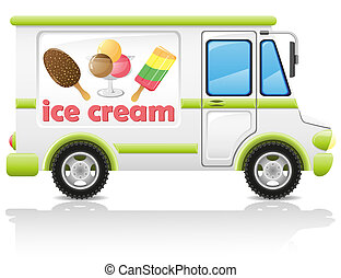 car carrying ice cream illustration isolated on white...