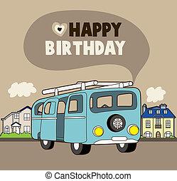 car, cartão aniversário