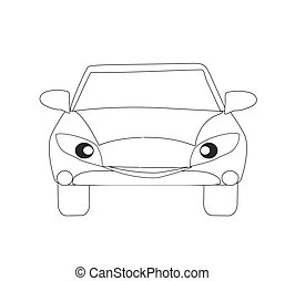 Car cartoon character, Isolated coloring book