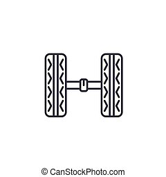 Car chassis linear icon concept. Car chassis line vector sign, symbol, illustration.