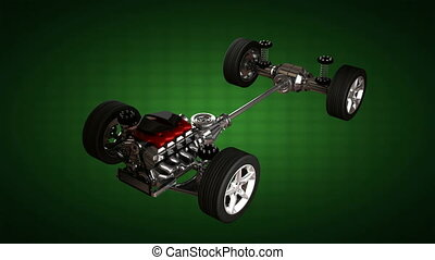 car chassis with engine. alpha matt